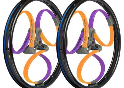 Purple and Orange Wheelchair Wheels